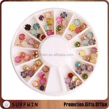 half acrylic round pearl beads with gold wrap Nail Art Decoration