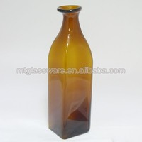 chinese new brown glass square vase