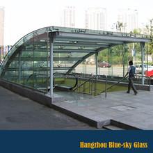 Laminated glass awning for subway station