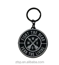 "The AMC walking dead symbol ""fear the living"" round metal key chain ring"