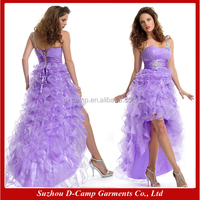 OC-742 One shoulder ruffled short in front long in back prom dresses 2012