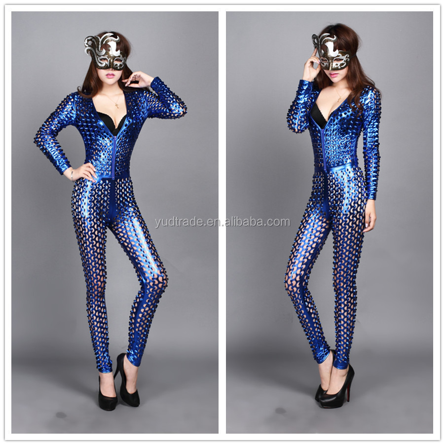 2016 New Design Women Leather Catsuit Jumpsuit Hallow Out 4colour Best Sell Dress - Buy Catsuit ...