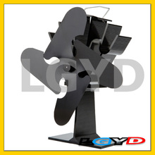 Eco-friendly Aluminum Alloy Heat Powered Stove Fan with 4 Blades for Wood / Gas / Pellet Stoves(Black)