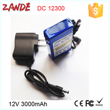 Super 12V Rechargeable Li-polymer 3000mah Battery Pack Portable for LED panel/strip/lights, Router
