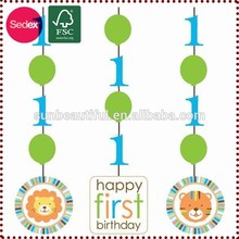 birthday party swirl hanging decoration for baby 1 year old party
