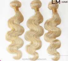 HOT ! 613 color blonde color virgin remy human hair weaving/weave