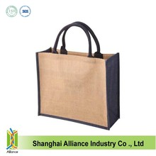 Durable jute bags with leather handles pack ALD523
