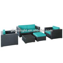 LexMod Malibu 5-Piece Outdoor Rattan Furniture Set