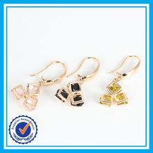 Elegant crystal three stone earrings plated gold fish hook charm