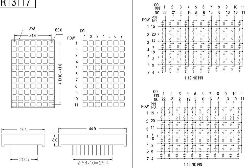 3mm Amber 5x7 led dot matrix sign led screen module for elevator/lift