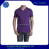 Custom Fashion Tag Printed Cotton Plain Men Plain V-neck T shirts