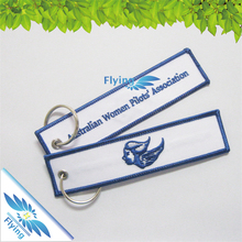 cheap airline airport custom remove before flight embroidery keychain