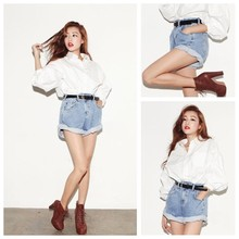 Nueva pantalones cortos de moda corea cosecha de alta cintura los pantalones vaqueros de mezclilla