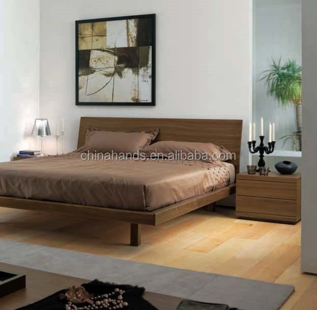 Queen size bed bedroom furniture 2015 modern simple wooden for Simple bed designs