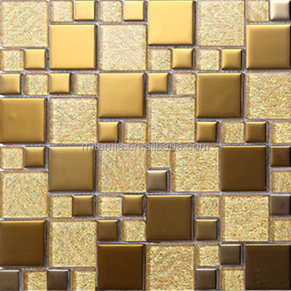 Glitter Gold Select Mosaic Tile Crystal Glass Mosaic Tile Decorative ...