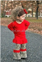 2015 wholesale popular adorable girls red cotton Sexy Leopard ruffle pant giggle moon fall kids easter clothing sets