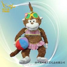 Popular with children stuffed plush girl monkey swimming plush monkey