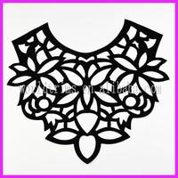 Black laser cuttiing collar pattern neck design of blouse WNL165