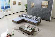 L shape natural wicker indoor chaise lounge sofa set for living room