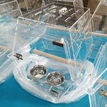 Import Acrylic Bird Cage Materials, Bird Cage For Parrot Display Cage With Wood Standing
