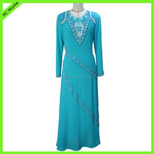 Elegant chiffon beaded OEM service lady dress