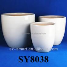 white glazed ceramic planter pots