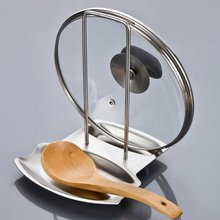 Stainless Steel Pan Pot Rack Cover Lid Rack Stand Spoon Holder Kitchen Storage Tool