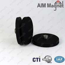 industrial application 50mm dia x 3.5mm thick x 6mm hole rubber coated Magnet