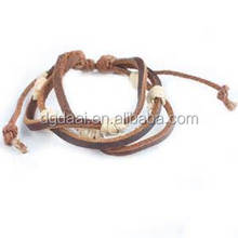 Row brown vintage style western leather unisex bangle