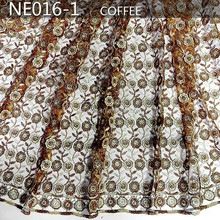 Top star lace african lace fabrics french lace fabric NE016-1 COFFEE