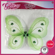 FW-1053 2015 New design Green Fairy princess wing with gilitter cloverleaf pattern high quality &well selling for kids for girls