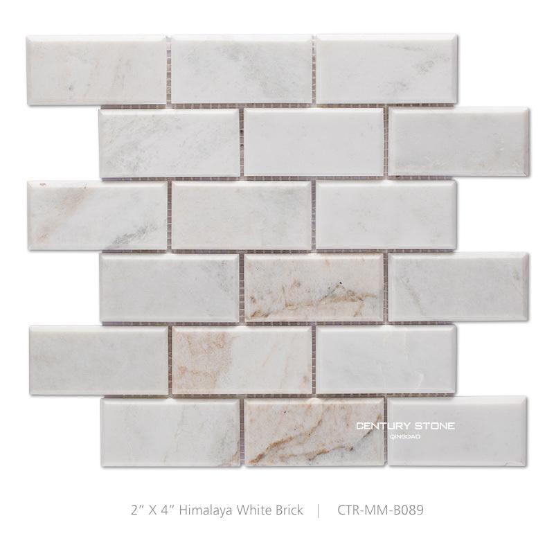 흰색 광택 베벨 가장자리 벽돌 모양 대리석 모자이크 주방 타일 ...