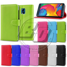 Colorful Lichee Pattern Wallet Magnetic Flip Card Stand PC + PU Leather Case for Samsung Galaxy S5 Sport G860P
