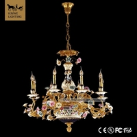 Traditional Rococo California Red 8 Lights White large hotel tree branch Bronze ceramic kathy ireland chandeliers
