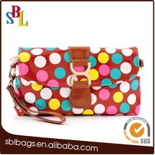 New style paint bags cosmetic bags, women dot clutch bags, vogue ladies PU bags