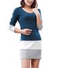 Women latest dress tops Long Sleeve Tops Color Block Tunic Tops Slim dress