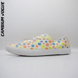 girls' fancy shoes, dots printed sneaker girls, vulcanized canvas shoes children