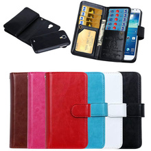 Luxury Zipper Wallet Detachable Magnet Leather Cell Phone Case for Samsung Galaxy S4 with 9 Card Slots