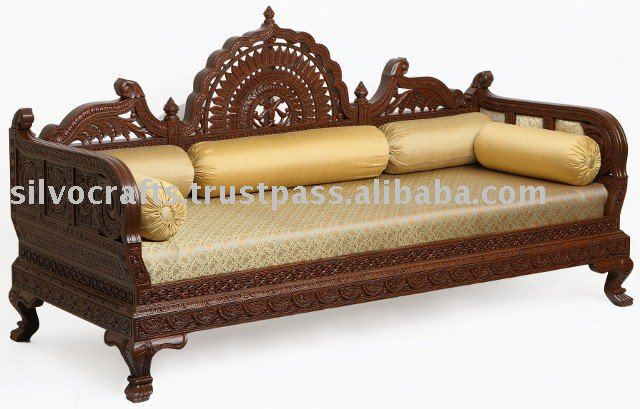 Royal hand carved wooden sofa set for hotel industry lobby for Diwan designs furniture