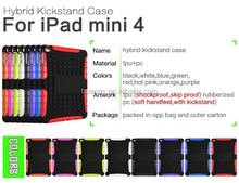 High quality pc tpu hybrid case with kickstand armor case for ipad mini 4 wholesale