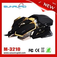 4000 DPI 10 Buttons LED Optical USB Wired Professional Gaming Mice, Ergonomic + Aluminium Base, Black