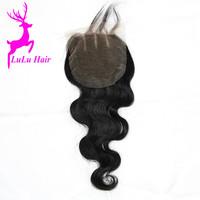 Wholesale Cheap Brazilian Hair Natural Wavy Top Virgin Hair Silk Base Three Part Human Hair Lace Closure