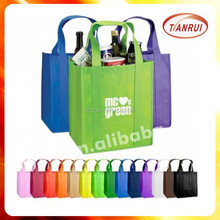 2015 cheap recycle new style fashion bottle carrier laminated non-woven bags
