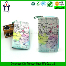 Leather PU world map print card holder pouch wallet with zipper