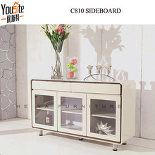 Cream color modern furniture buffet with glass door