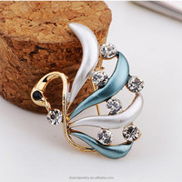 Fashion Swan shaped Brooch Crystal Wedding Brooches for Women Cheap Wholesale latest fashion brooch pin Jewelry 2015 XZ003
