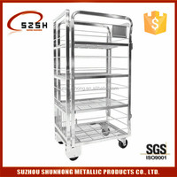 4 layers shelves Milk Trolley transport roll cage container pallet