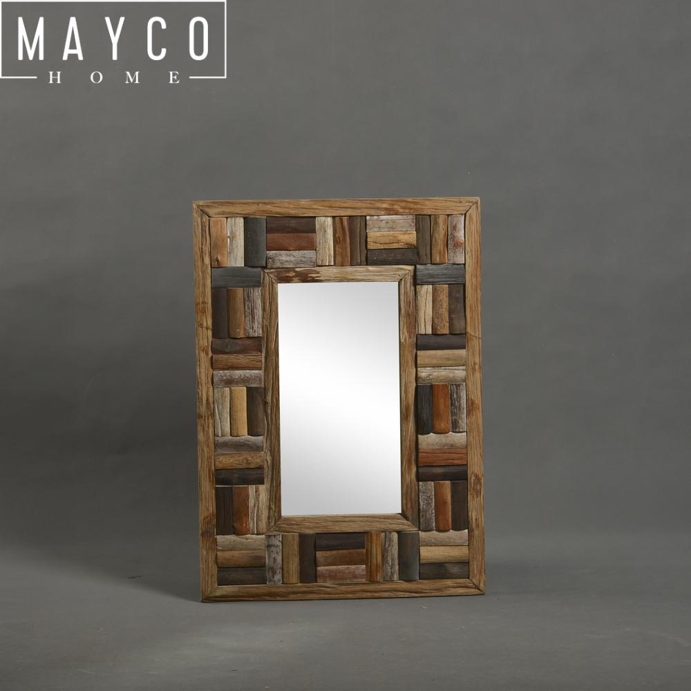 Mayco color natural rectángulo Driftwood marco decorativo espejo de pared para Baño