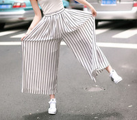 The Hot Sale Europe Station Black And White Striped Cotton Pants Thin Section Loose Linen Wide Leg Pants For Female 9656
