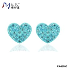 heart shaped green crystal stud earring